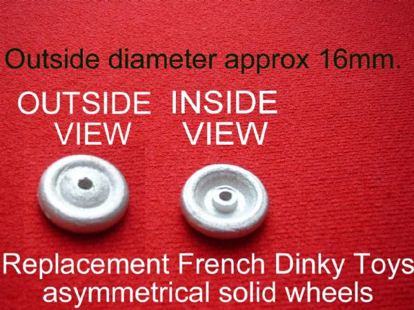 French Dinky Toys 24m Jeep (Mount wheels inside-out on this model) 16mm Diameter solid wheels (Each)